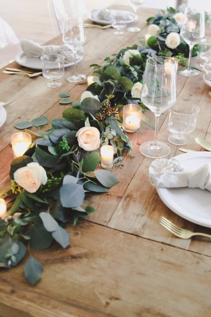 spring table centerpiece with eucalyptus