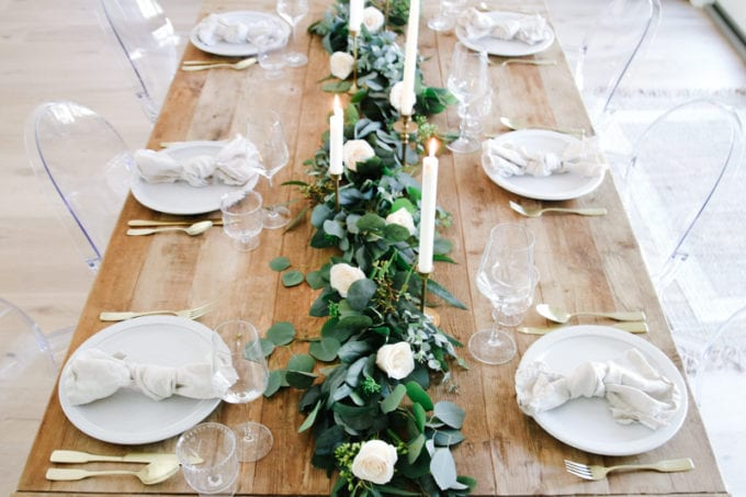 spring table setting with roses