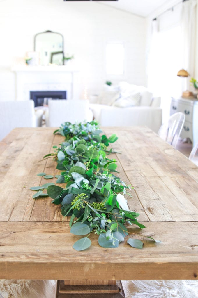 how to make a eucalyptus garland using faux flowers