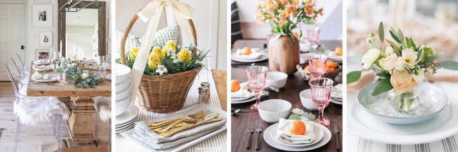 Easter inspired table settings for blog tour.