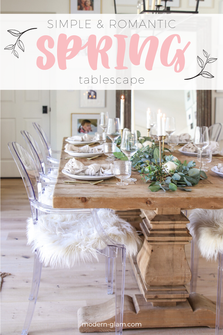 Simple table setting idea for spring. Create this rustic yet refined table for spring entertaining. Neutral table setting ideas via @modernglamhome