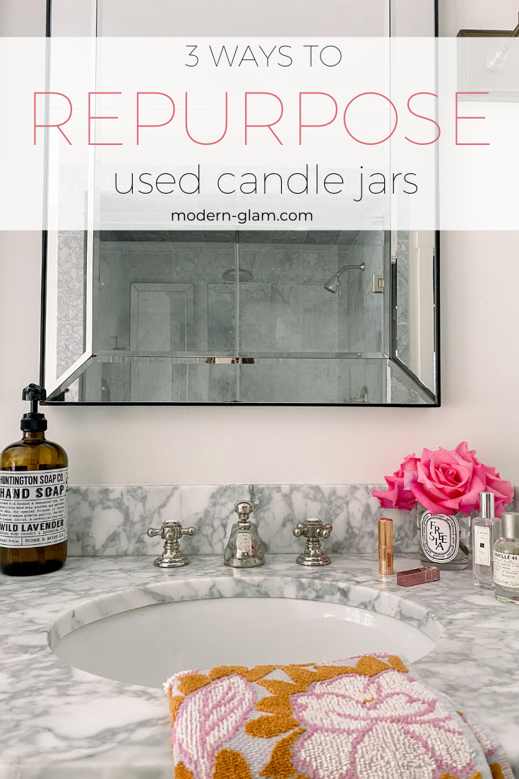 Learn the easiest way to clean out those old candle jars. Plus 3 beautiful ways you can repurpose them and decorate your home! #reduce #reuse #repurpose #diy #modernglam via @modernglamhome