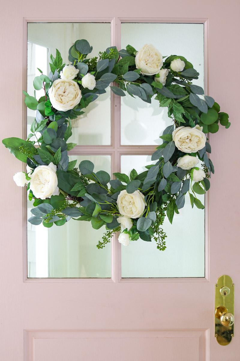 Diy White Rose And Eucalyptus Wreath For Summer Modern Glam