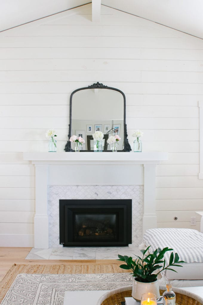summer mantel with peonies