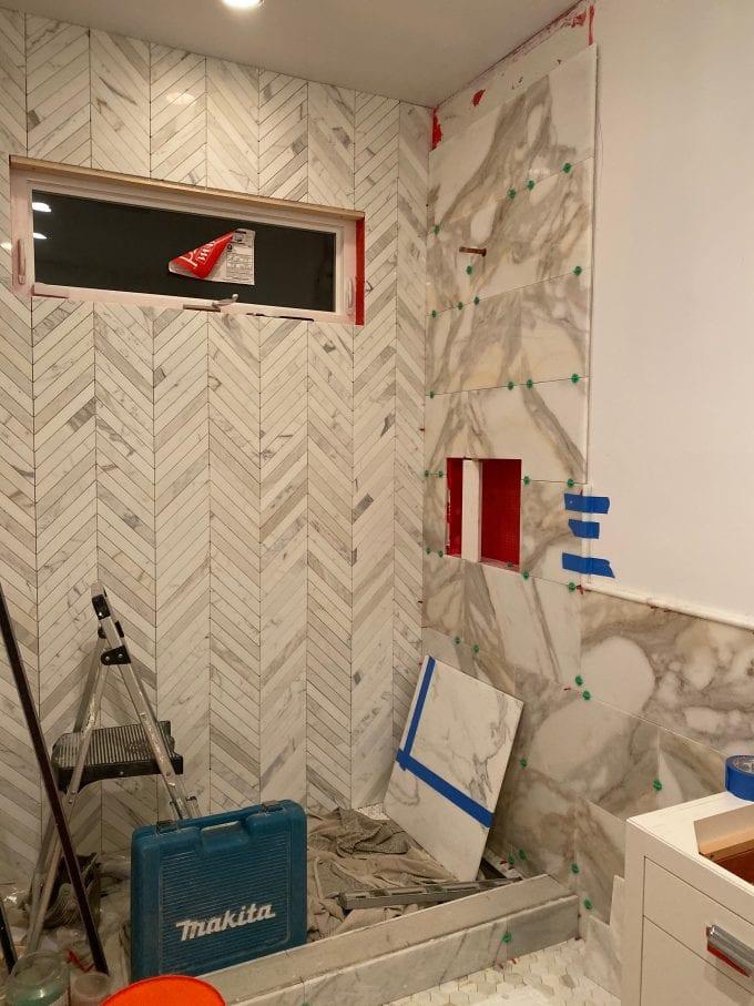 calacatta mable tile bathroom