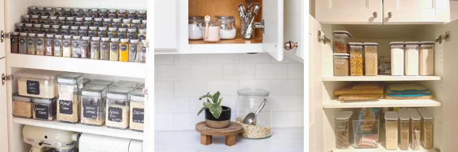 An open kitchen cupboard with clear containers inside
