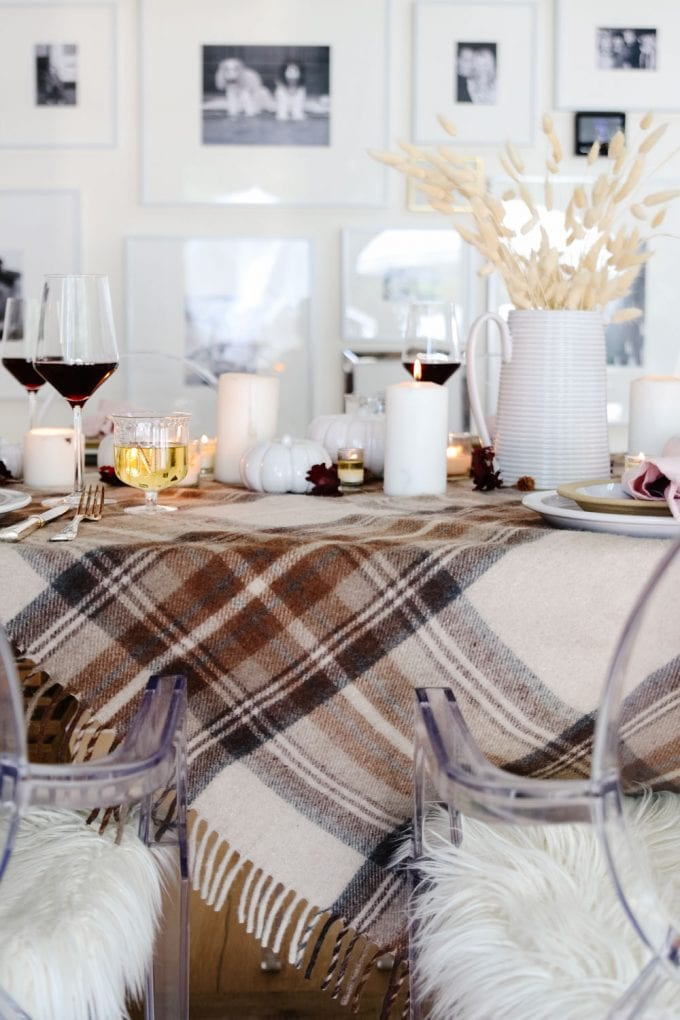 plaid and pink fall table
