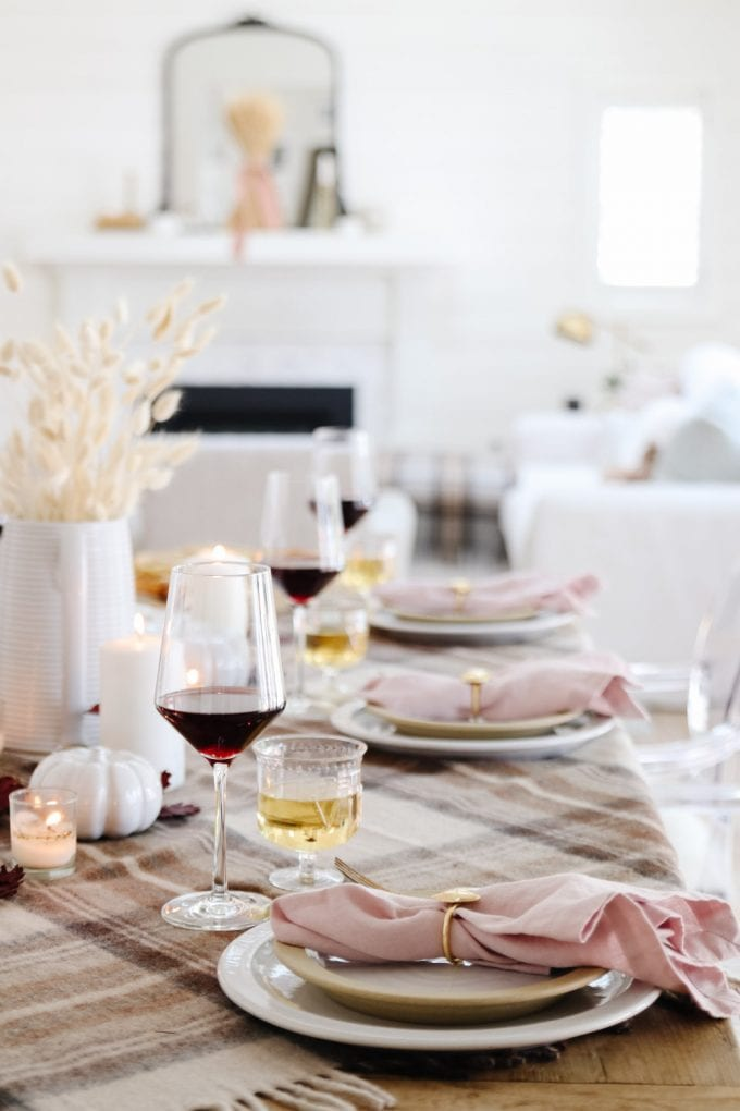fall tablescape with plaid
