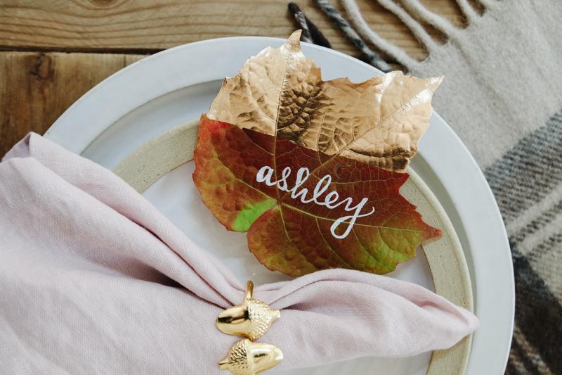 fall leaf place card idea