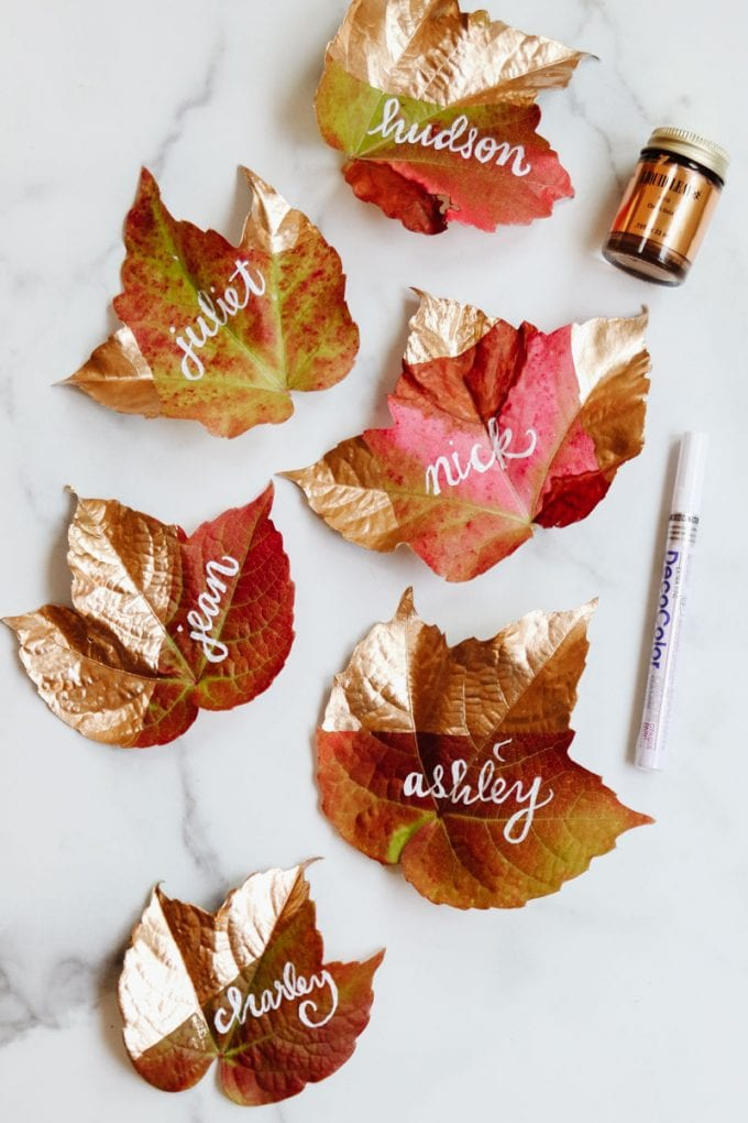 hand lettered fall place cards