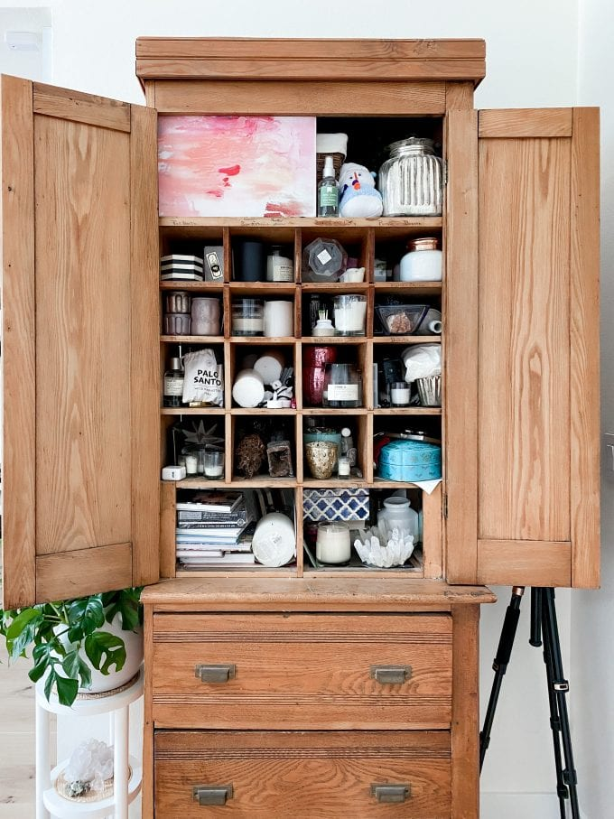 antique cupboard with mail slots