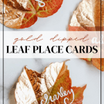 gold dipped leaf place cards