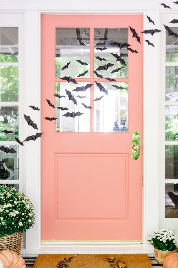 front door with flying bats