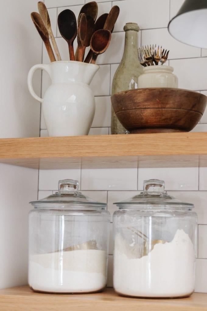 white oak kitchen shelves