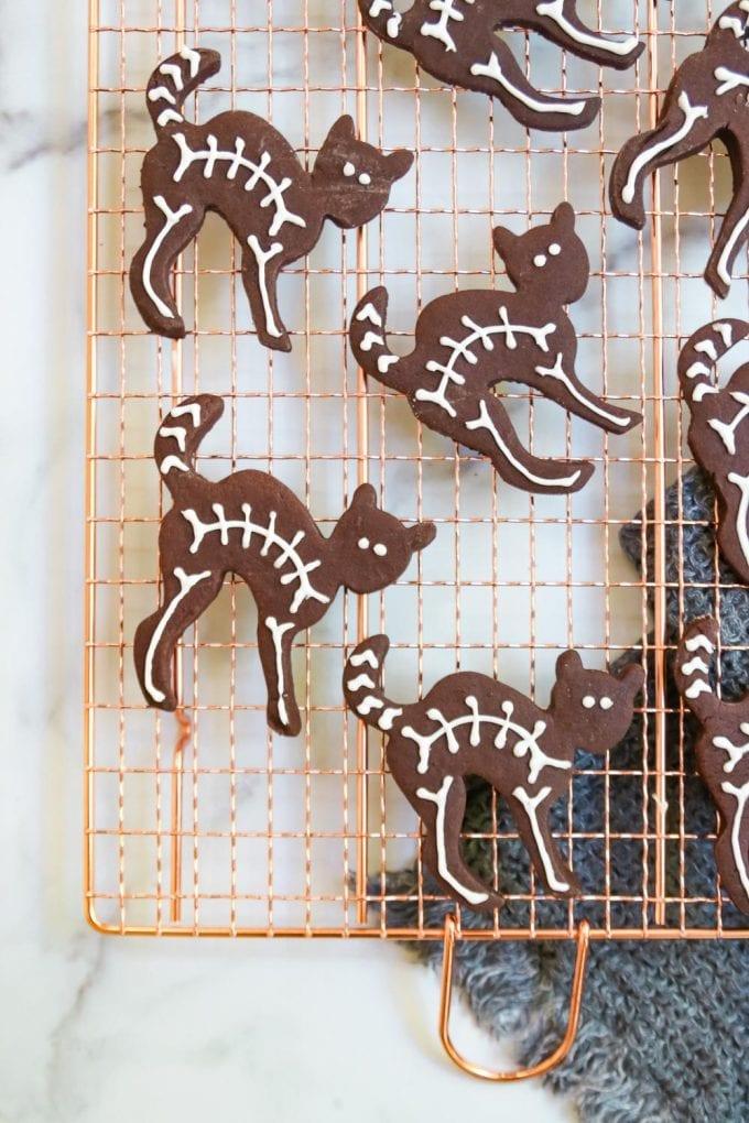 black cat skeleton cookies for halloween