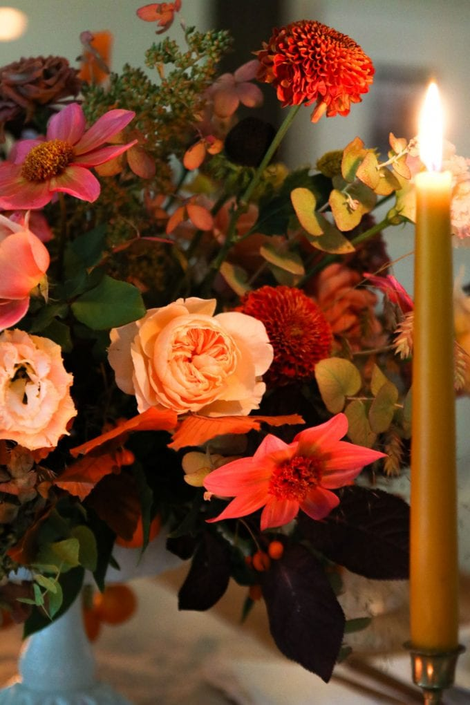 fall flower arrangement with roses