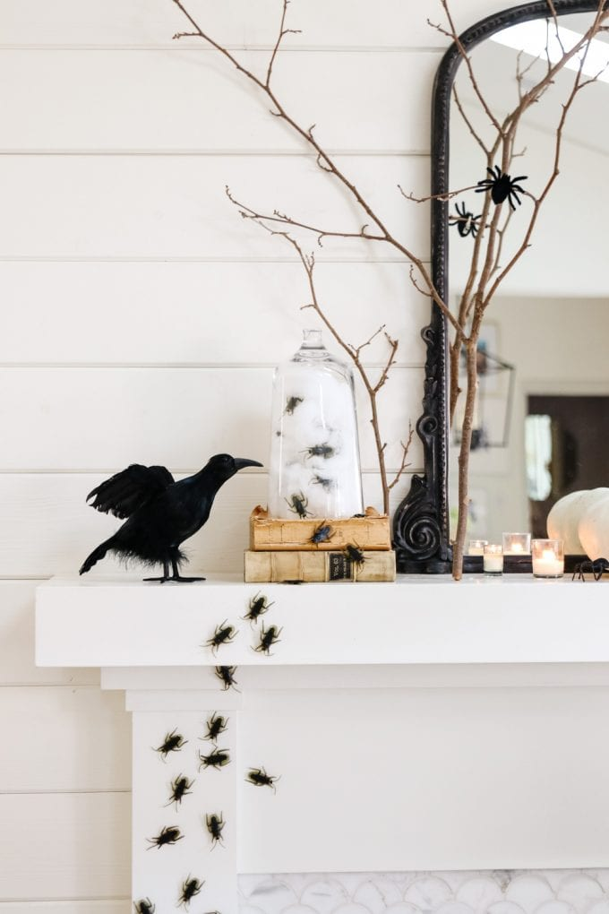 halloween mantel with insects
