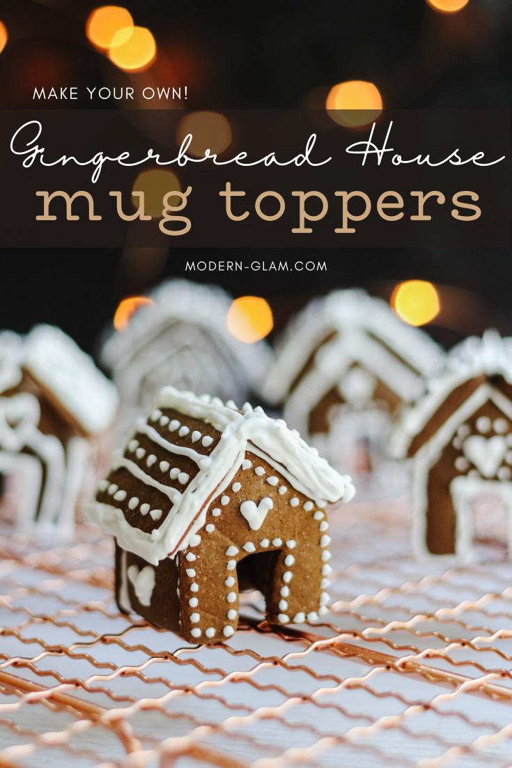 Mini Gingerbread House Mug Toppers Modern Glam