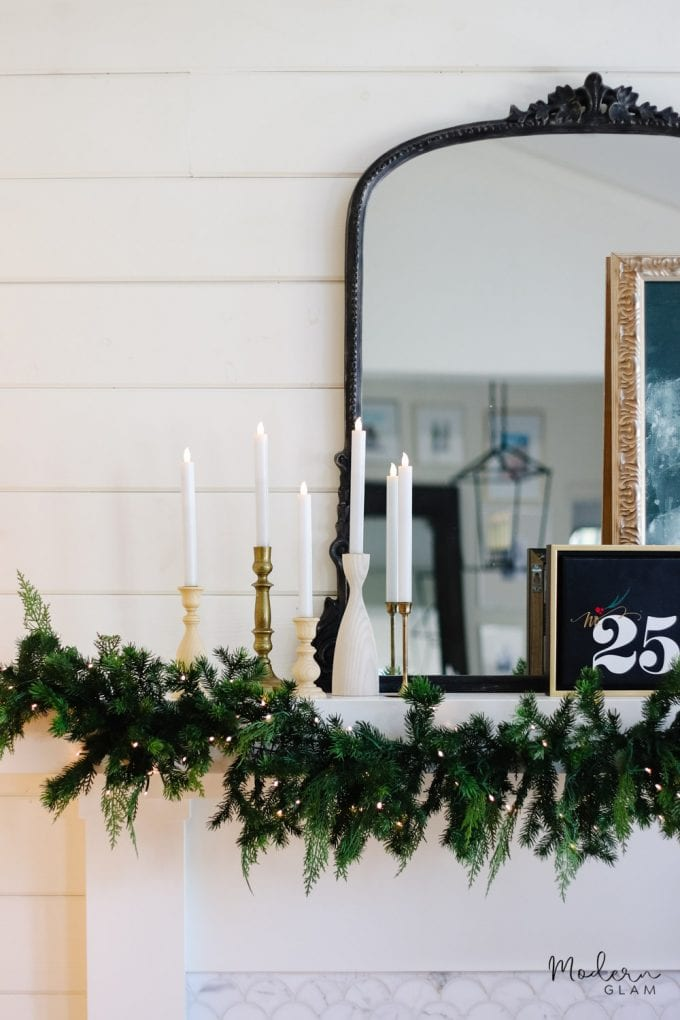 green and white holiday decor