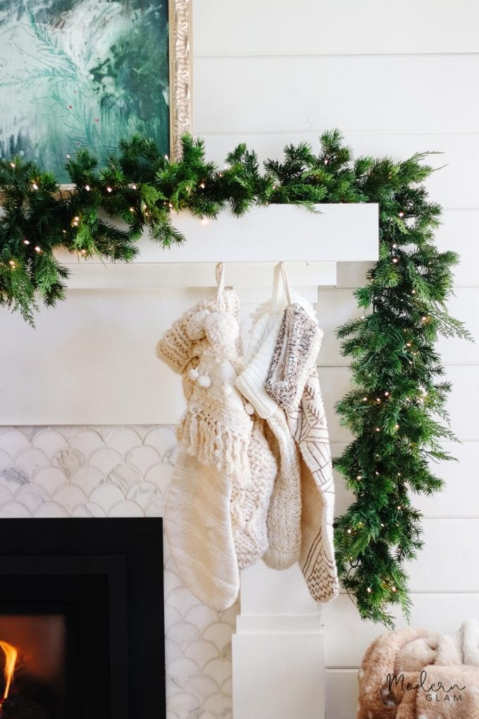 simple mantel with stockings