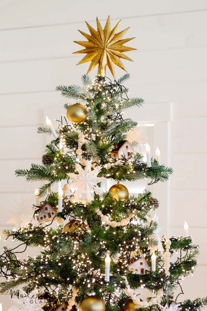 Scandinavian christmas tree with gold star