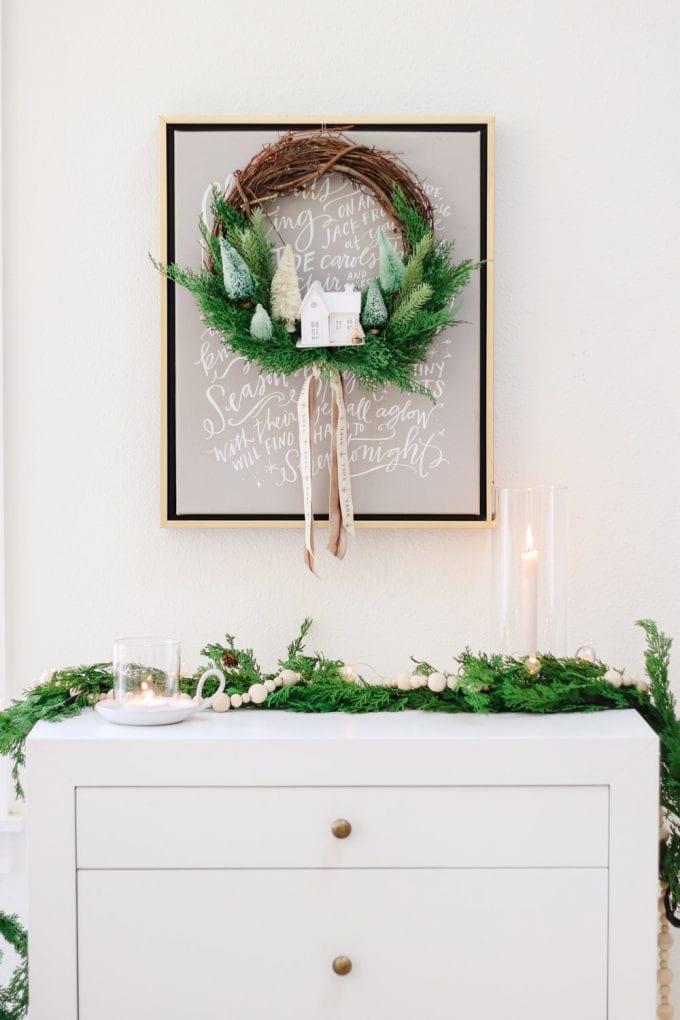 winter snow village wreath