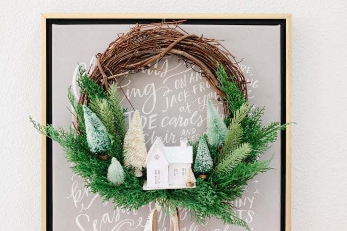 how to make a winter village wreath