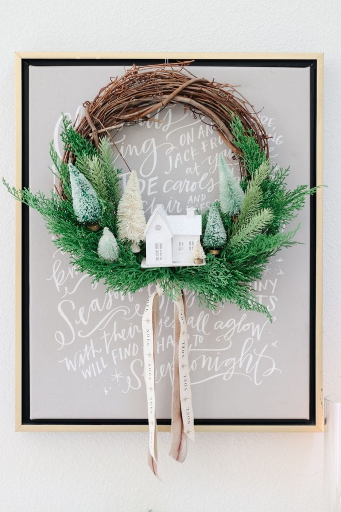 winter village wreath diy for the holidays