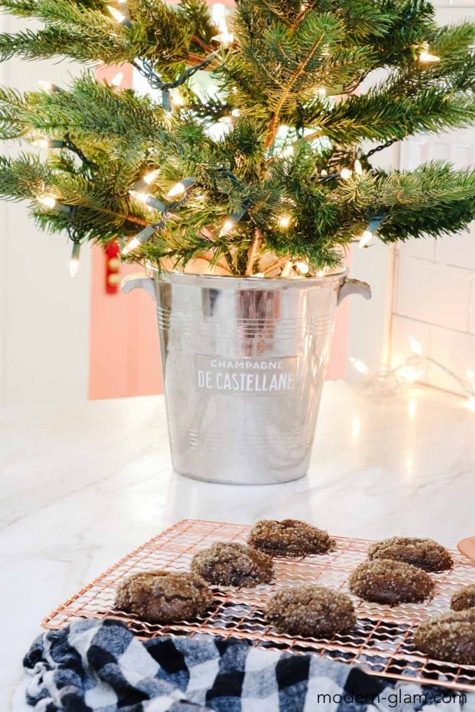 christmas tree in champagne bucket