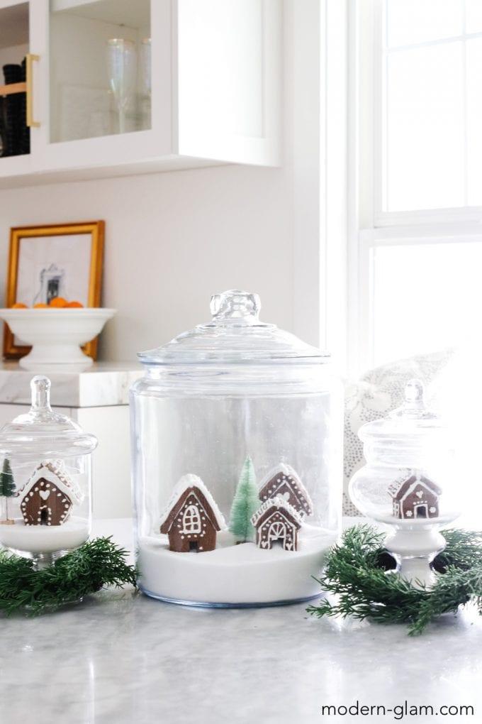 gingerbread houses in jars