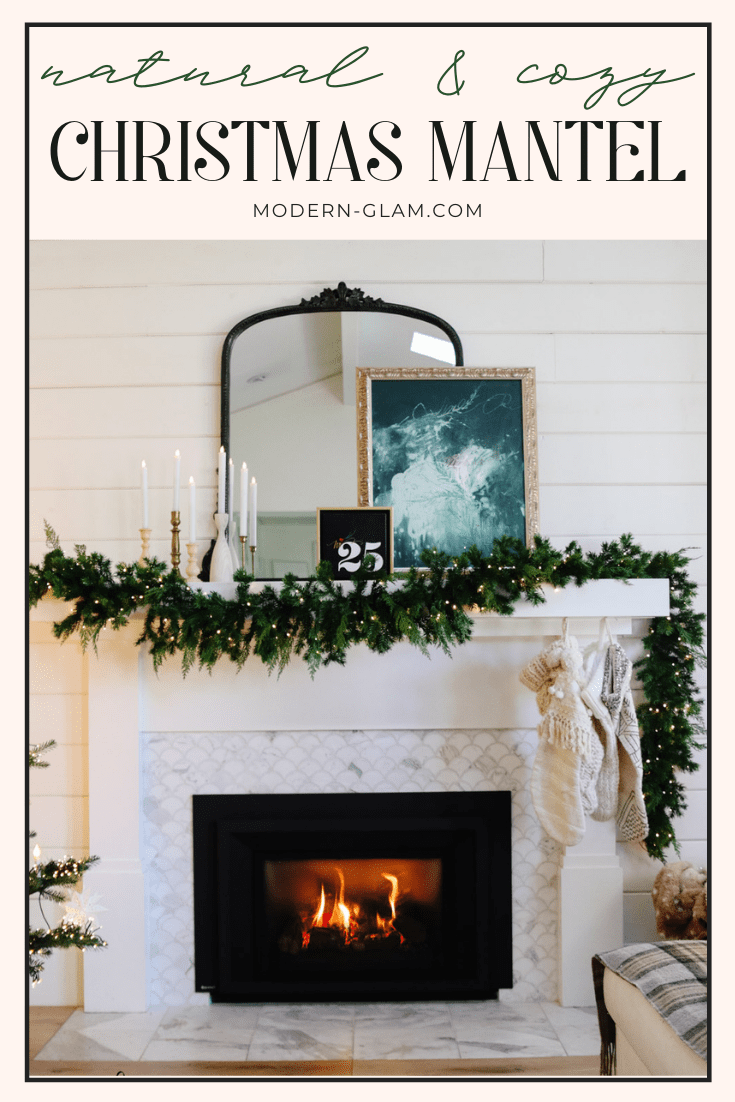 Natural and Cozy Christmas Mantel via @modernglamhome