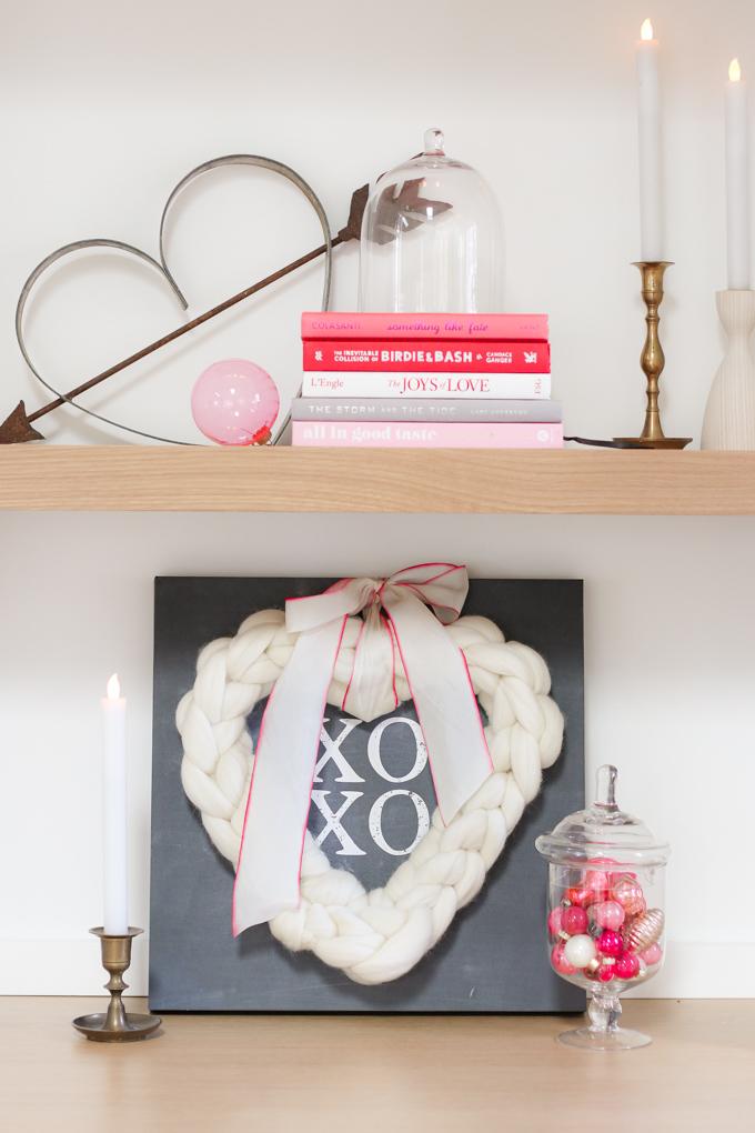 finger knitted wreath