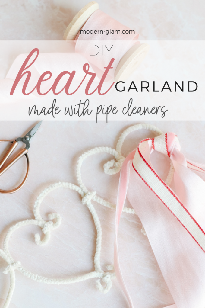 DIY pipe cleaner heart garland