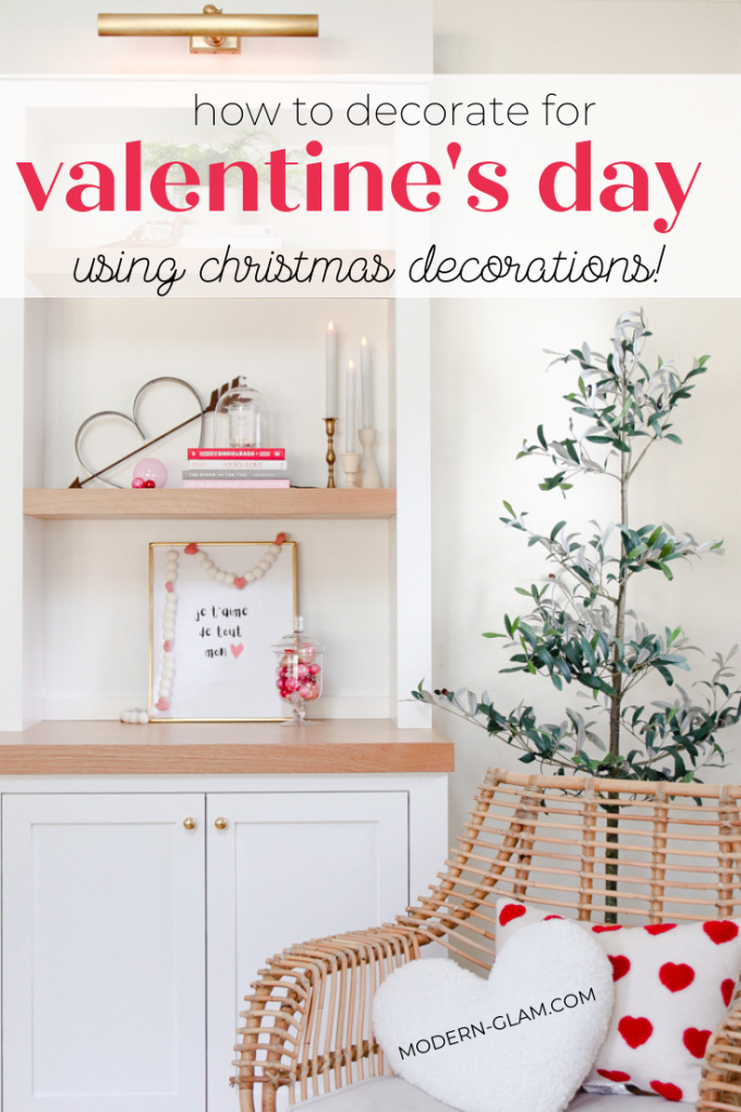 repurpose Christmas decor for Valentine's Day