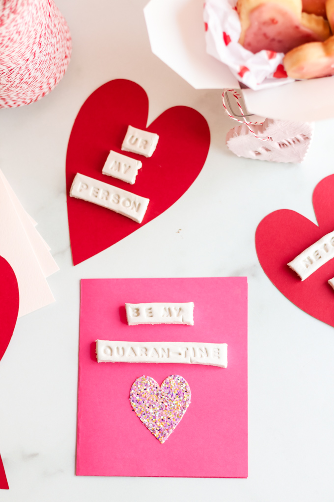 air dry clay heart cards