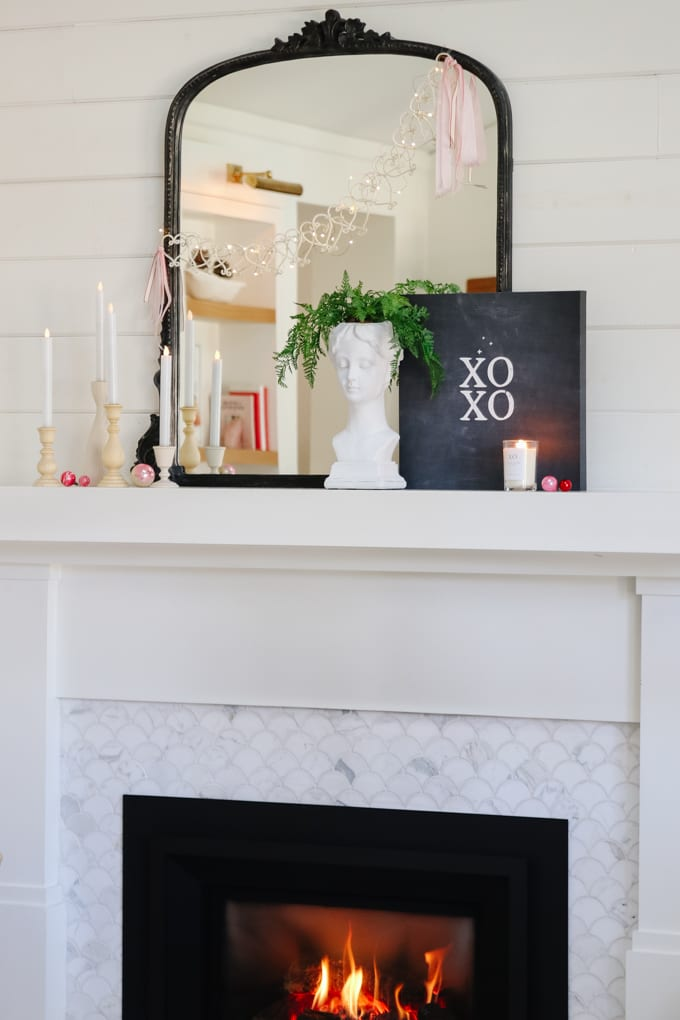 valentine's day mantel styling