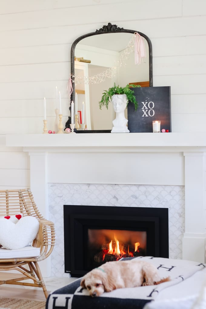 valentines day mantel styling