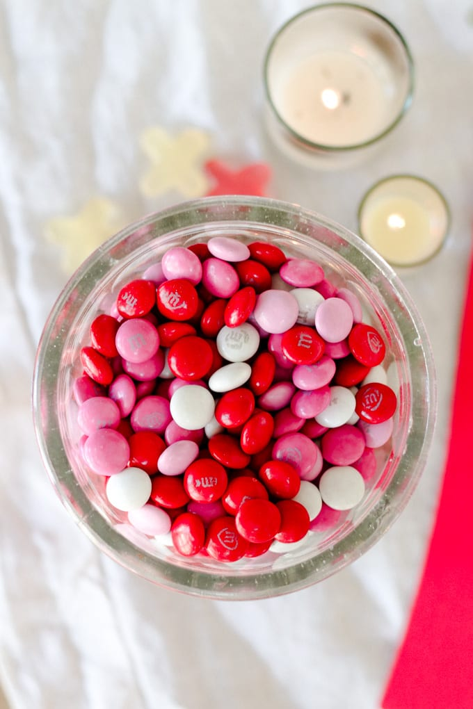 pink and red m&m's in jar