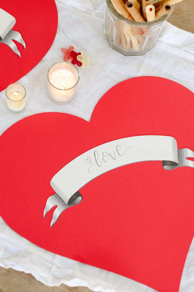 red heart placemats