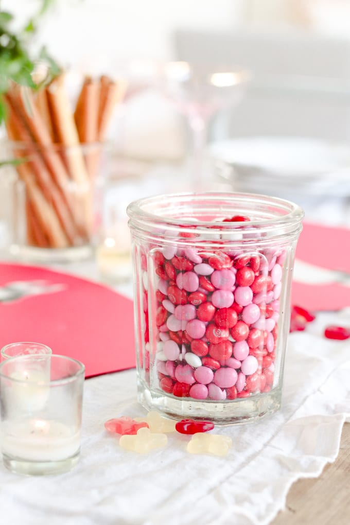 pink and red candy jars