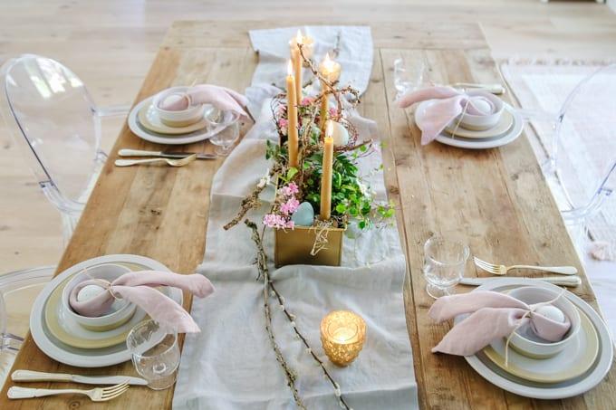 organic spring tablescape
