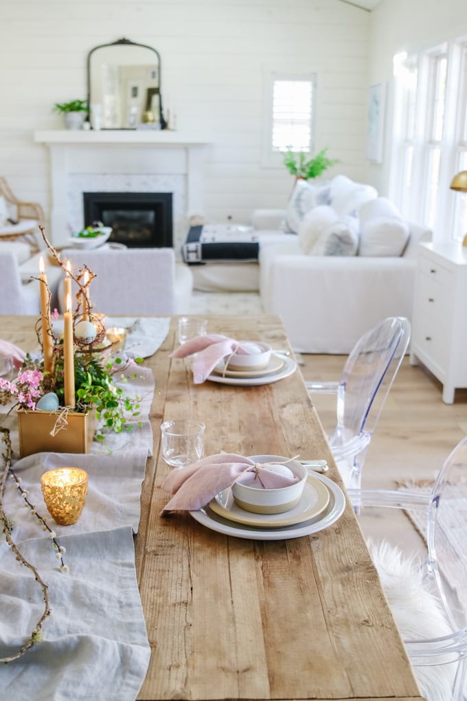 neutral easter place setting