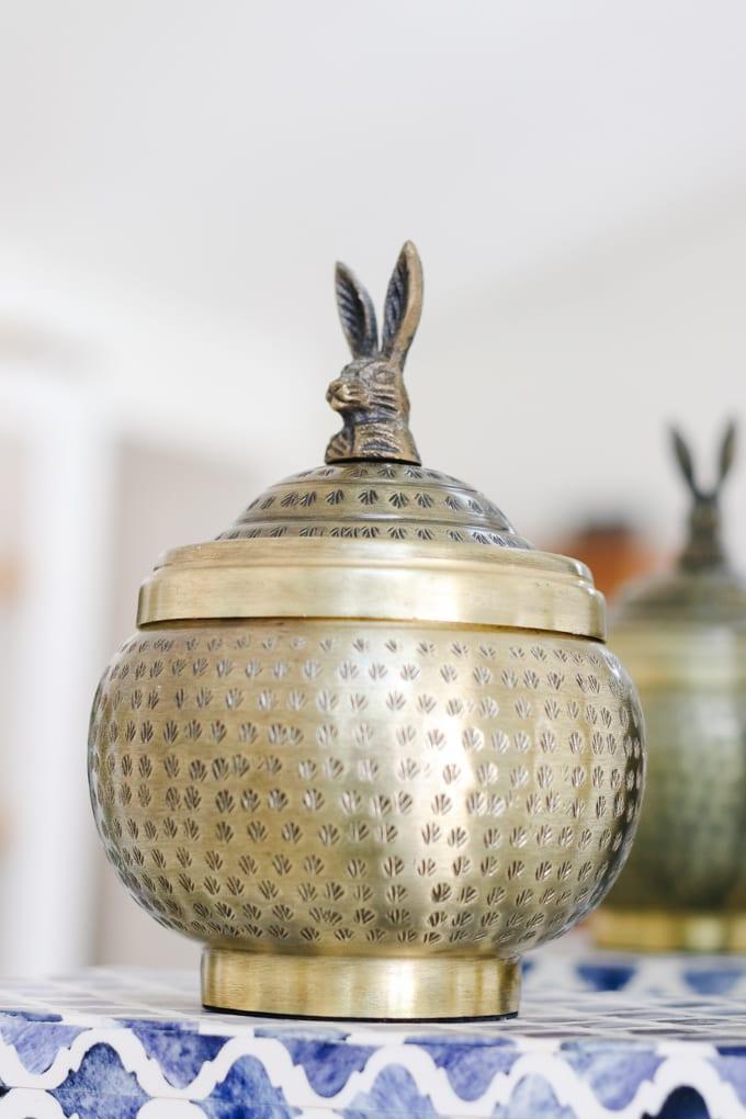 brass jar with bunny