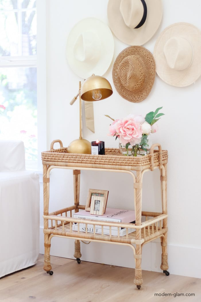how to style a bar cart as a side table