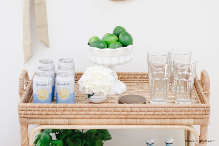 bar cart styling without alcohol