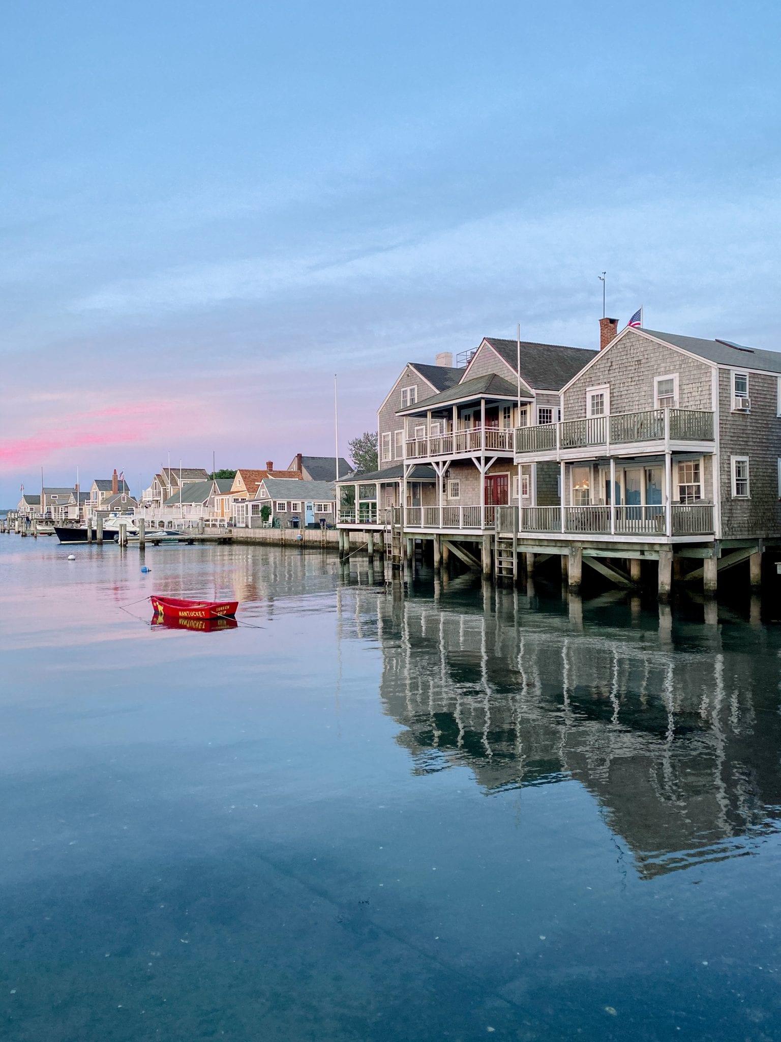 Nantucket boat harbor at sunset