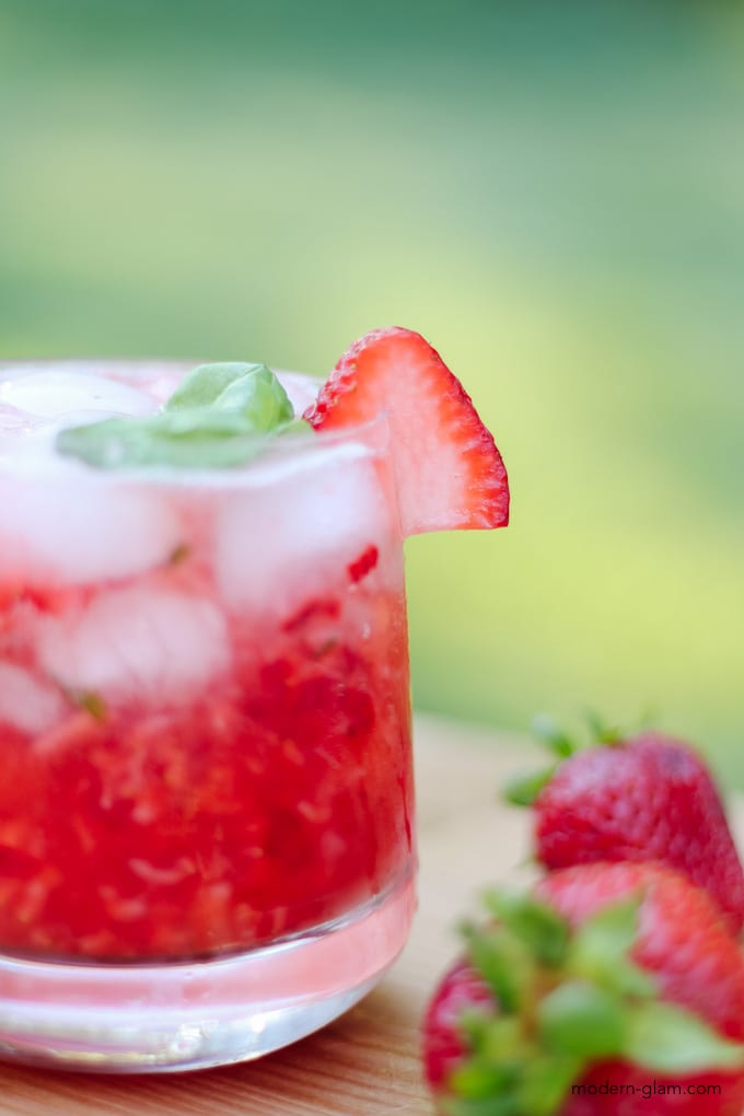 strawberry basil cocktail with vodka