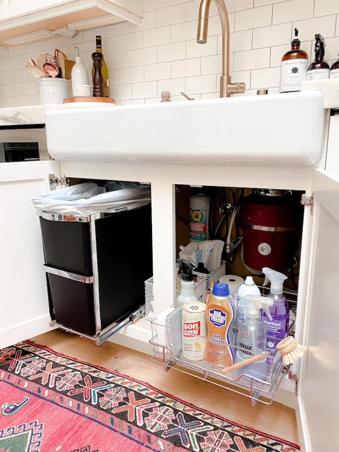under sink cabinet organizing
