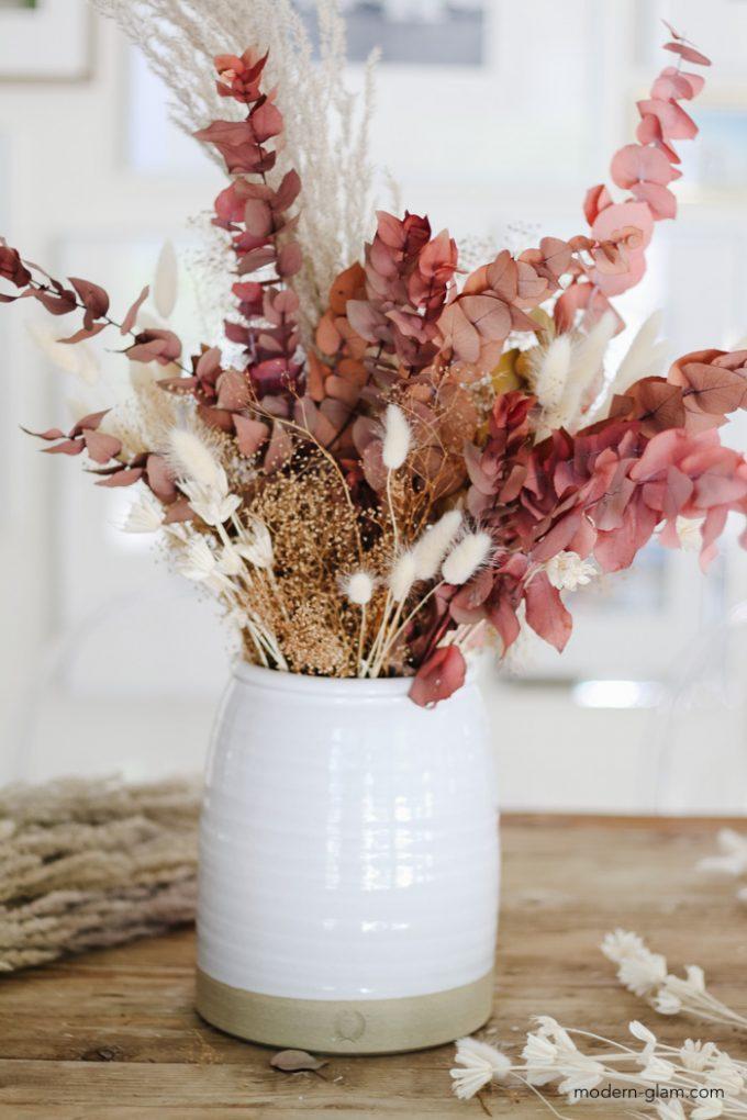 DIY Fall Flower Arrangement with pampas grass
