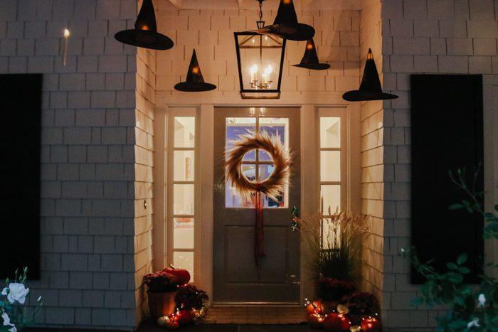 halloween porch at night
